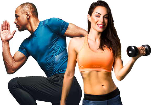 Fit man and woman